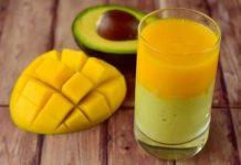 Hỗn hợp sinh tố từ hai loại trái cây bơ xoài